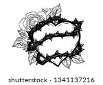 heart with rose vine vector by... | Shutterstock .eps vector #1341137216