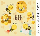 The Character Of Cute Bee With...
