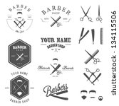 set of vintage barber shop logo ... | Shutterstock .eps vector #134115506