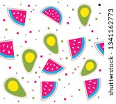 watermelon and avocado vector... | Shutterstock .eps vector #1341162773