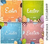 set of happy easter banners.... | Shutterstock .eps vector #1341168449