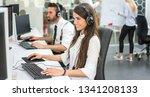 cheerful customer support... | Shutterstock . vector #1341208133