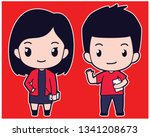 chibi cute flat vector boy and girl student holding book in red shirt