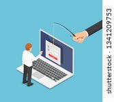 flat 3d isometric hacker trying ...   Shutterstock .eps vector #1341209753