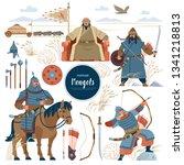the mongols. set mongol nomad... | Shutterstock .eps vector #1341218813