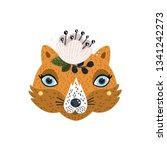 cute fox with flower vector... | Shutterstock .eps vector #1341242273