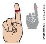 string around the finger...   Shutterstock .eps vector #134125118