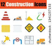construction icon set. stencil...