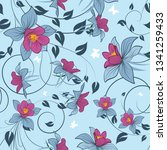 seamless vector floral pattern. ... | Shutterstock .eps vector #1341259433