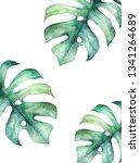 tropical summer card. abstract... | Shutterstock . vector #1341264689
