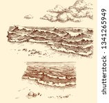 beach and sea view set  drawing ... | Shutterstock .eps vector #1341265949