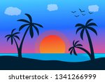 vector seascape and sky... | Shutterstock .eps vector #1341266999
