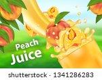peach juice and splash. 3d... | Shutterstock .eps vector #1341286283