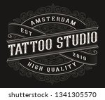 vintage tattoo logo design on... | Shutterstock .eps vector #1341305570