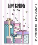 happy birthday card with hand...   Shutterstock .eps vector #1341308246