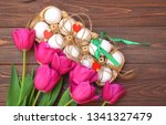 easter composition  tulips and... | Shutterstock . vector #1341327479
