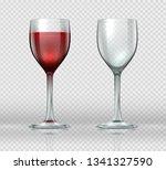 realistic wine glasses.... | Shutterstock .eps vector #1341327590