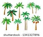 cartoon palm tree. jungle palm... | Shutterstock .eps vector #1341327896