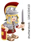 Illustration of a cute happy Roman soldier holding a sword and a shield - stock photo