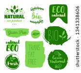 healthy food icons  labels.... | Shutterstock .eps vector #1341338606