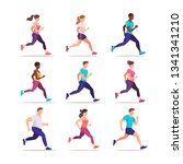 set of people jogging. runners... | Shutterstock .eps vector #1341341210