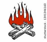 bonfire in vector | Shutterstock .eps vector #1341346160