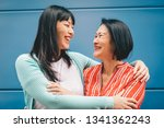 asian mother and daughter... | Shutterstock . vector #1341362243