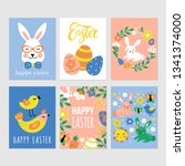 easter holiday cute greeting... | Shutterstock .eps vector #1341374000