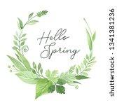 watercolor botanical wreath... | Shutterstock . vector #1341381236