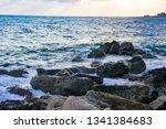 landscape of the sundown in sea ... | Shutterstock . vector #1341384683