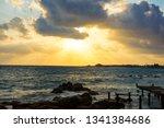 landscape of the sundown in sea ... | Shutterstock . vector #1341384686