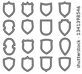 shield shape icons set. gray... | Shutterstock .eps vector #1341398546