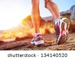 athlete running sport feet on... | Shutterstock . vector #134140520