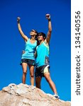 couple trail running on... | Shutterstock . vector #134140556