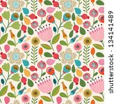 Stock vector seamless floral pattern 134141489