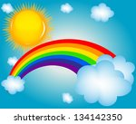 cloud  sun  rainbow ...   Shutterstock . vector #134142350