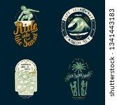 surfing t shirt design set ... | Shutterstock .eps vector #1341443183
