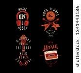 music t shirt print set  music... | Shutterstock .eps vector #1341443186