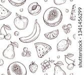 doodle fruits seamless pattern. ...   Shutterstock .eps vector #1341456299