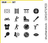 exercise icons set with tennis...