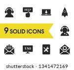 service icons set with message  ...