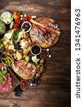 italian antipasti wine snacks...   Shutterstock . vector #1341476963