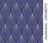 seamless porcelain indigo blue... | Shutterstock .eps vector #1341480773