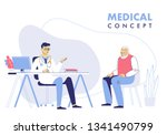medicine concept with doctor... | Shutterstock .eps vector #1341490799