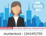 anchorwoman on tv broadcast... | Shutterstock .eps vector #1341491750