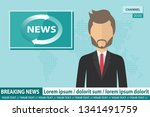 anchorman on tv broadcast news. ... | Shutterstock .eps vector #1341491759