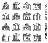 courthouse icons set. outline... | Shutterstock .eps vector #1341497723