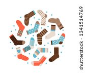 warm winter socks round vector... | Shutterstock .eps vector #1341514769