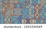 vector patchwork quilt pattern. ...   Shutterstock .eps vector #1341534569