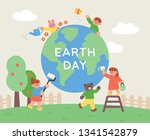 cute children are cleaning the... | Shutterstock .eps vector #1341542879